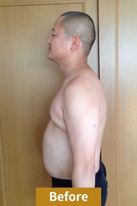 30代男性、ダイエット前のサイド写真