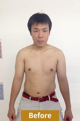 20代男性、ダイエット前の正面写真